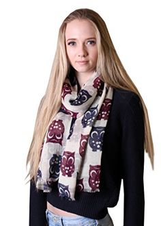 Women's Humble Happy Owl Bird Print Soft Wool Fashion Scarf Shawl Wrap: Amazon.co.uk: Clothing