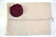 Fold over Envelope clutch,  Simple, natural Linen & Felted Wool Flower…