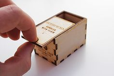 Cool laser cut packaging with sliding lid. << wood box tab engraved