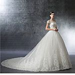 Ball Gown Wedding Dress Floral Lace Chapel Train Off-the-shoulder Tulle with Appliques 2017 - $149.99
