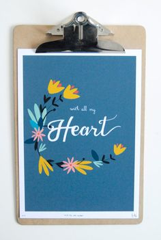 Hand Drawn Type - 'With all my Heart' by Stacie Swift