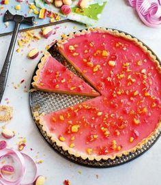 Boozy custard and rhubarb Tart