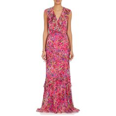 Saloni Women's Rita Floral Silk Maxi Dress ($795) ❤ liked on Polyvore featuring dresses, multi color maxi dress, ruffled dresses, ruffle maxi dress, pink ruffle dress and silk dress