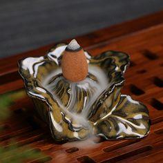 Porcelain Ceramic Floral Backflow Incense Burner Holder with 5 backflow cones