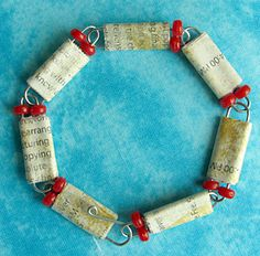 Paper clip and Paper Bead Bracelet by I Love Paper Beads featured at totallygreencrafts.com