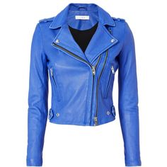 Dylan Blue Leather Moto Jacket ($1,295) ❤ liked on Polyvore featuring outerwear, jackets, blue, leather jackets, iro jacket, blue motorcycle jacket, double zipper jacket and rider leather jacket