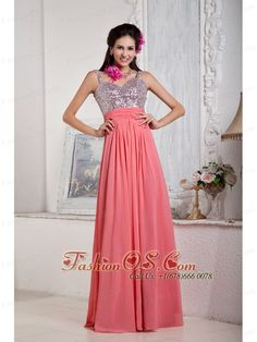 Customize Watermelon Empire Evening Dress Spaghetti Straps Chiffon and Sequin Beading Floor-length- $138.59