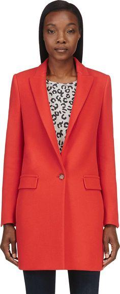 Stella Mccartney for Women Collection Orange Cast, Stella Mccartney Coat, Ladies Fashion, Womens Fashion, Autumn Winter Fashion, Mantel, Minimalist, Coats, Blazer