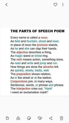 Parts of speech poem english vocabulary, english grammar, teaching english, parts of speech Teaching Grammar, Teaching Writing, Teaching Tips, Teaching English, Grammar Rules, English Grammar, English Language Poem, English Vocabulary, Poem English