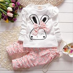 New Kids girl baby Set clothing style spring autumn children Girls Cute Rabbit cotton long sleeved T-shirt + pants Child suit
