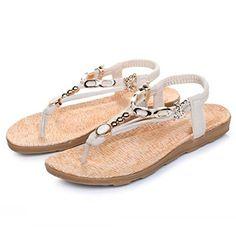 New Fashion Women's Flat Sandals Massage Metal Flip Flops