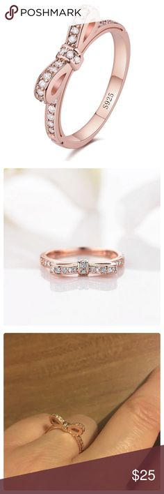 RGP .925 CZ Bowtie Ring Rose gold plated Sterling silver (stamped 925) bowtie ring with cubic zirconia. Brand new. Cute and dainty. Bezel setting. Surface width: 4mm. Jewelry Rings