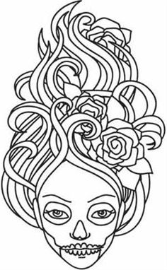 Embroidery Designs at Urban Threads - Skeleton Girl Skull Coloring Pages, Coloring Pages For Girls, Colouring Pages, Coloring Sheets, Adult Coloring, Coloring Books, Sugar Skull Girl, Sugar Skulls, Skeleton Girl