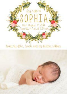 Baby Girl Birth Announcement Simple Unique Boho Flower by kreynadesigns
