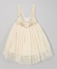 Take a look at the Sweet Charlotte Ivory Crocheted Tulle Dress - Infant, Toddler & Girls on #zulily today!
