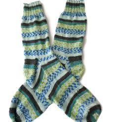 Socks - Hand Knit Men's Blue, Green & Brown - Casual Socks - Size 10-11