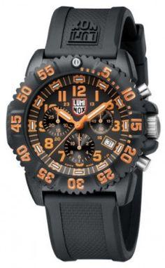 Relógio Luminox Men's 3089 Navy Seal Colormark Chronograph 3080 Series Black Chronograph Rubber Band, Orange Accents Watch #Relógio #Luminox