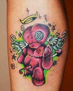 Voodoo doll tattoos are the most popular voodoo tattoos, but there are many varieties. Check out this gallery of all kinds of voodoo tattoos! Pin Up Tattoos, Word Tattoos, Leg Tattoos, Body Art Tattoos, Voodoo Doll Tattoo, Voodoo Dolls, Dinosaur Tattoos, Sugar Skull Tattoos, Sugar Skulls