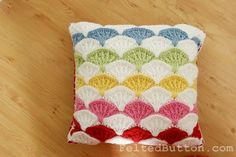 Pillow and Afghan Crochet Pattern, Paintbrush Colorful. Etsy.