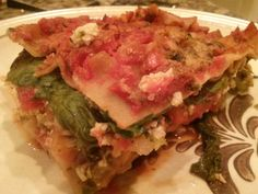 LOADED Vegan Lasagna!  If you love veggies as much as I do, make this! Click on photo for full recipe. Eat what you want, freeze the rest in individual servings, then microwave for 3 min.  Yummo!