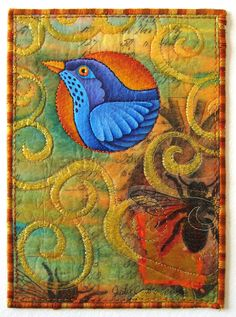 Swirly bird   #quilt  Can't find who did it, but love it!