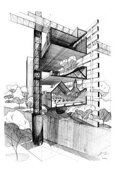 Inter 12 - cliff tan sectional perspective, architectural section, architec Architecture Design, Architecture Collage, Architecture Wallpaper, Architecture Graphics, Concept Architecture, Architecture Drawings, School Architecture, Architecture Portfolio, Sectional Perspective