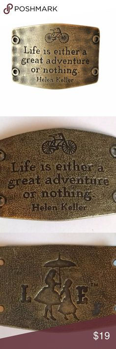 New Lenny and Eva Large Gold Sentiment Adventure New Lenny and Eva Large Sentiment Antique Gold Brass  Life is either a great adventure or nothing - Helen Keller Lenny and Eva Jewelry Bracelets