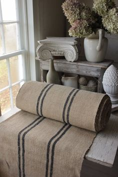 This bolt of hand-woven heavy weight fabric, dates from the early ~ and is woven by hand ~ a lovely burgundy and khaki / olive green stripe! Hemp Fabric, Linen Fabric, Wood Tile Floors, Flooring, French Fabric, Painted Stairs, Country Interior, Interior Stairs, Linens And Lace