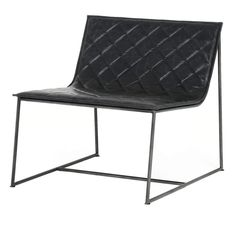 """Dessau Industrial Iron Quilted Black Leather Chair is part of Black Living Room Chairs - personalized and Special Order items Select items marked Final Sale or """"NonReturnable"""" All White Glove & Large Parcel items Dining Room Chairs Ikea, Industrial Dining Chairs, Contemporary Dining Chairs, Office Chairs, Modern Chairs, Desk Chairs, Swing Chairs, Beach Chairs, White Leather Chair"""