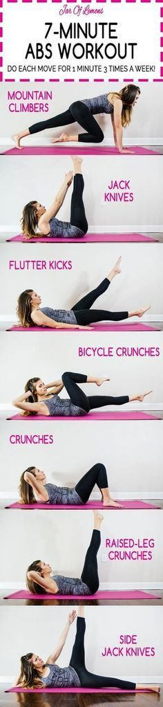 Do each move for 1 minute. 7 minutes, just 3 times a Abs Workout! Do each move for 1 minute. 7 minutes, just 3 times a week! Fitness Workouts, Fitness Motivation, Lower Ab Workouts, At Home Workouts, Fitness Tips, Fitness Plan, Workout Routines, Fitness Goals, Training Workouts