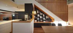 Custom kalka home - built in bookcase - blackbutt timber stair detail. Shaun Lockyer design