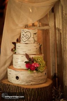 LOVE THIS!!    Country Wedding Cakes | Birch bark country wedding cakes design is a unique cake for your big ...