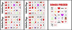 Printable Valentine's Day Bingo boards and cards