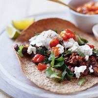 Smoky Black Bean Tostadas with Garlicky Greens