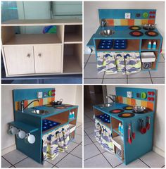DIY Kids kitchen from TV cabinet