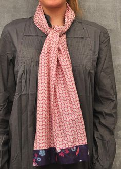Folia Print Trimmed Scarf - Great last minute stocking stuffer idea for the scarf lover! #cotton #French #vintage #eclectic