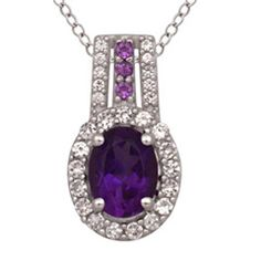 Oval Amethyst and Lab-Created White Sapphire Frame Pendant in Sterling Silver