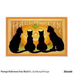 Vintage Halloween Four A lovely vintage / retro Halloween poster featuring an antique illustration of four cute black cats silhouettes sitting in front of a smiling pumpkin. Background in Art-nouveau style.Black Cats and Pumpkin Poster........