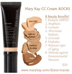 kay This cc cream is part of my daily spring and summer makeup routine! The formula is so light, but still covers, and leaves skin looking smooth and fresh! I have this product available in all colors, let's find your perfect match! love this product! Spa Facial, Facial Scrubs, Facial Masks, Facial Cleanser, Mary Kay Party, Hair Removal, Mary Kay Cosmetics, Cc Cream, Perfectly Posh