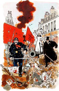 "Jacques TARDI - Cover for a novel by Jean Vautrin ""Le Cri du peuple"" (The Shout of the People) , Editions Grasset, Paris, 1999"