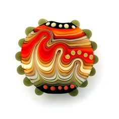 Rainbow Lampwork bead lentil focal Free worldwide by michals, $37.00