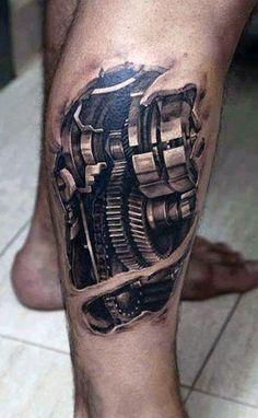 Mechanical Gear Men's Leg Tattoos