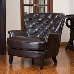 Christopher Knight Home Tafton Tufted Brown Leather Club Chair   Overstock.com Shopping - Great Deals on Christopher Knight Home Living Room...