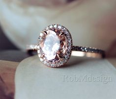 Gifts! 14k Rose Gold Engagement Ring With Classic Oval Cut 7*9mm Morganite Pave Diamond Wedding Ring Gemstone Ring Morganite Engagement Ring by RobMdesign on Etsy https://www.etsy.com/listing/209930328/gifts-14k-rose-gold-engagement-ring-with