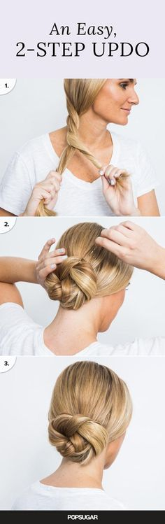 Summer brings out the worst in everyone's hair! But if these hair tricks can hold up at swimsuit shoots on the beach, then they'll do the job for you, too. You'll be amazed at the time you'll save on styling with the two-minute updo and five-minute blowout secrets. #BunHairstyles