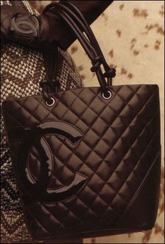 Chanel Quilted Chocolate Gloves & Tote