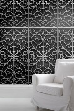 Black Wrought Iron wallpaper, by Young & Battaglia.
