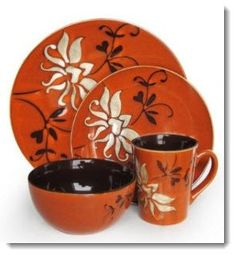 Matching Red Dinnerware Plates and Bowls