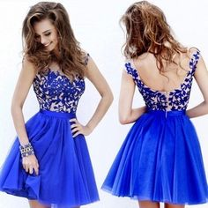 2016 hot sale custom made blue Charming homcoming Dress A ine V-neck Appliques Cap Sleeve Short Mini Tulle Evening Party gowns Blue Homecoming Dresses, Hoco Dresses, Prom Party Dresses, Cute Dresses, Bridesmaid Dresses, Formal Dresses, Evening Party Gowns, Evening Dresses, Homcoming Dresses