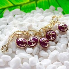 "HPNautical Charm Bracelet in Purple Purple anchor charm bracelet, so cute for summer!! 8"" in length, lobster clasp. Brand new in original packaging, price firm. 15% discount on bundles. No PayPal or trades. HOST PICK Girly Girl Party 6/26 boutique Jewelry Bracelets"